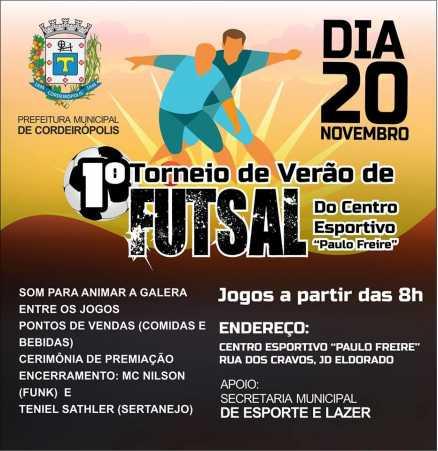 Futebol, música e animação: 1º Torneio de Verão de Futsal acontece dia 20 de novembro