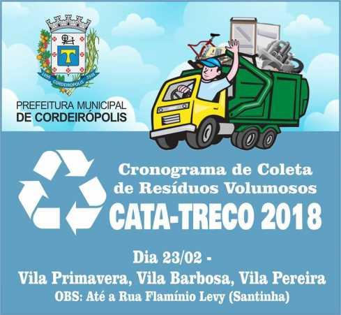 Cronograma do cata-treco em Cordeirópolis para as próximas semanas