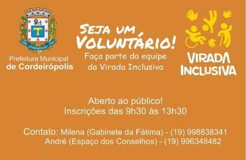 Venha fazer parte da Virada Inclusiva de Cordeirópolis