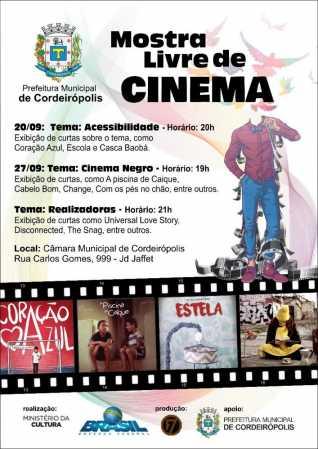 Cordeirópolis receberá mostra livre de cinema nos dias 20 e 27 de setembro