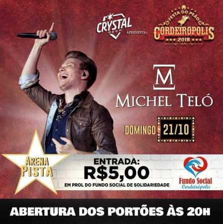 Michel Teló encerrará a Festa do Peão de Cordeirópolis com entrada a R$ 5 reais