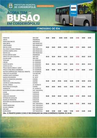 Prefeitura divulga pontos e horários do transporte coletivo em Cordeirópolis