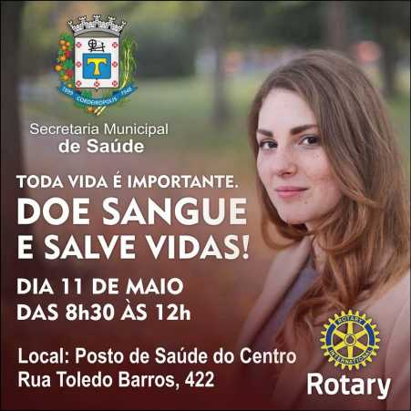 Campanha de Doação de Sangue será no dia 11 de maio em Cordeirópolis