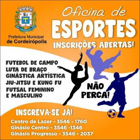 Prefeitura abre inscrições para oficinas de esportes em Cordeirópolis