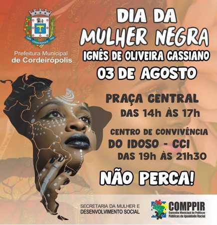 Dia da Mulher Negra será celebrado com oficinas e atividades culturais em Cordeirópolis