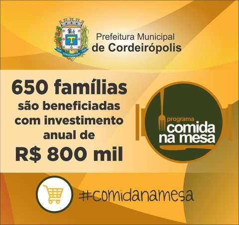 Mais de 650 famílias são beneficiadas com o Programa Comida na Mesa