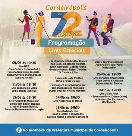 72 ANOS - Lives em comemoração ao aniversário de Cordeirópolis começam sexta (05)