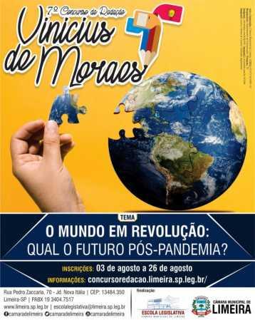 Inscrições para o 7º Concurso de Redação Vinícius de Moraes começam dia 3 de agosto
