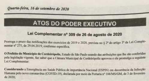 Prefeitura de Cordeirópolis prorroga em um ano prazo para regularização de terrenos sem muros e calçadas