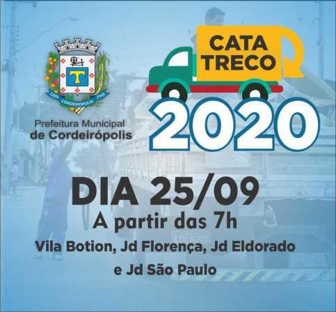 Cata-treco passará em quatro bairros de Cordeirópolis nesta sexta-feira (25)