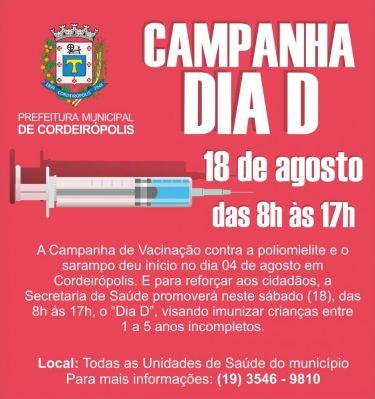 Vacinação contra poliomielite e sarampo imunizou mais de 40% do público-alvo em Cordeirópolis