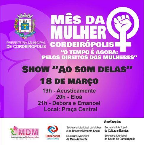 Amanhã tem show na Praça central de Cordeirópolis