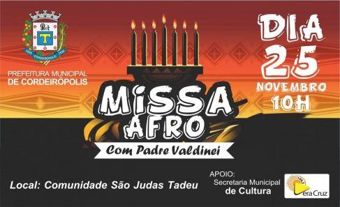 Consciência Negra: Jardim Eldorado receberá Missa Afro no dia 25 de novembro