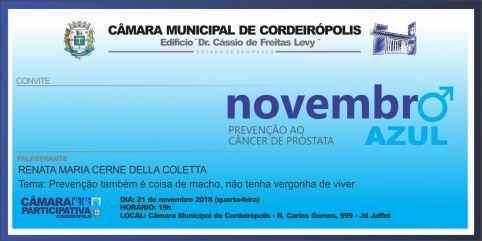 Câmara de Cordeirópolis traz palestra para discutir Novembro Azul