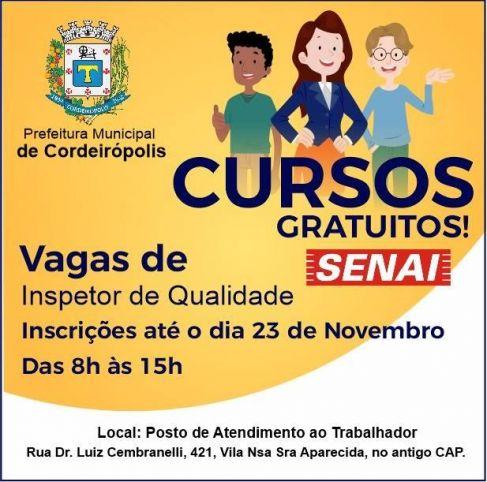 Prefeitura de Cordeirópolis abre inscrições para curso do SENAI de Inspetor de qualidade