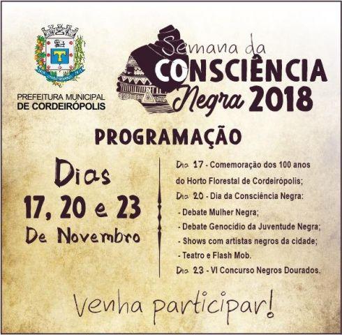 Dia da Consciência Negra será comemorado com atividades nos dias 17, 20 e 23 de novembro