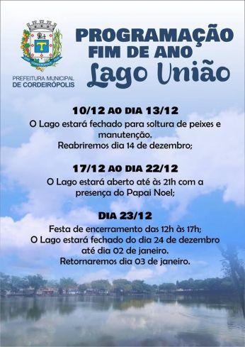 Lago União tem programação especial de fim de ano em Cordeirópolis