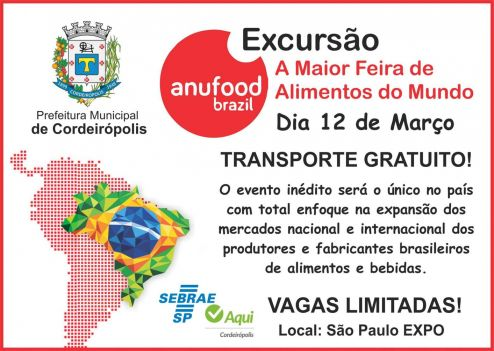 SEBRAE Cordeirópolis disponibiliza 18 vagas para a maior feira de alimentos do mundo
