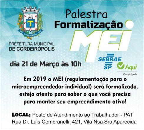 Prefeitura promoverá palestra de formalização do MEI no dia 21 de março