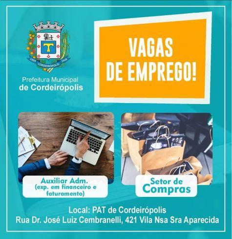 Confira as vagas de emprego em Cordeirópolis