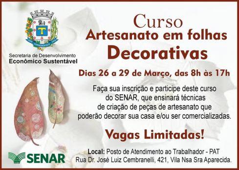 Inscrições para curso de Artesanato em Folhas Decorativas em Cordeirópolis