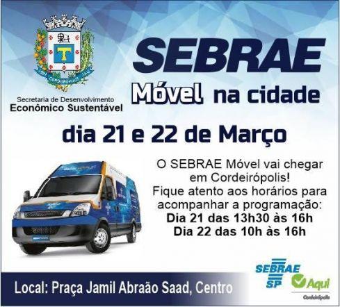 Sebrae Móvel estará em Cordeirópolis nos dias 21 e 22 de março