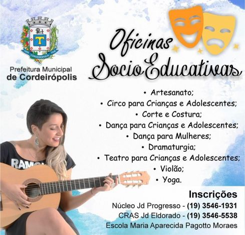 Prefeitura de Cordeirópolis está com inscrições abertas para oficinas socioeducativas