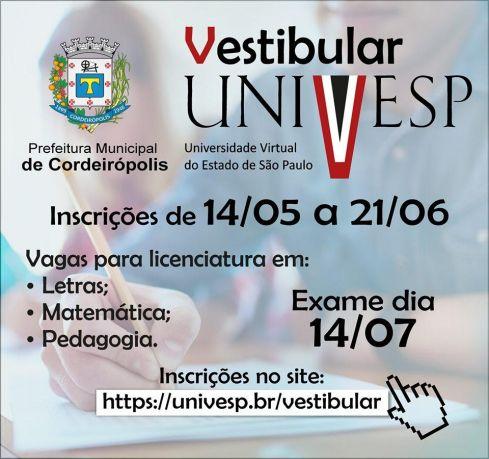 Estão abertas novas vagas para cursos da UNIVESP