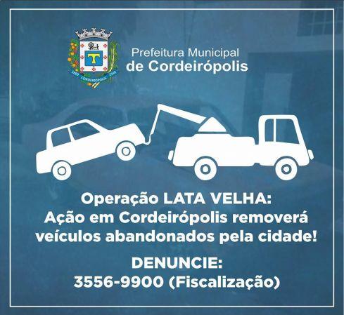 Ação removerá veículos abandonados pela cidade a partir da próxima semana