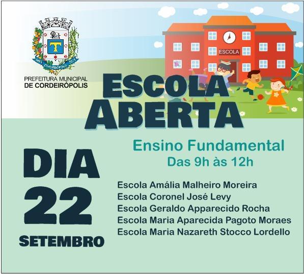 Neste sábado (22) é dia de Escola Aberta nas escolas do Ensino Fundamental