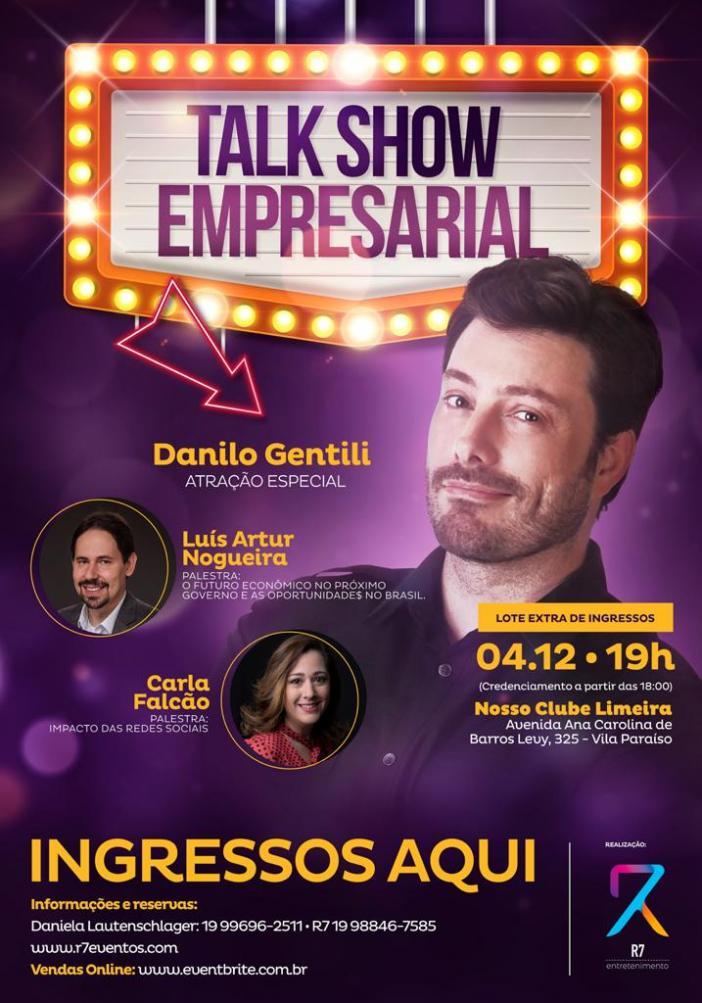 Limeira receberá Talk show Empresarial com Danilo Gentili em dezembro