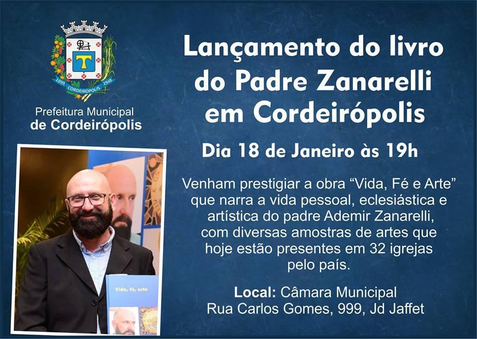 Padre Zanarelli lançará seu livro na Câmara Municipal de Cordeirópolis