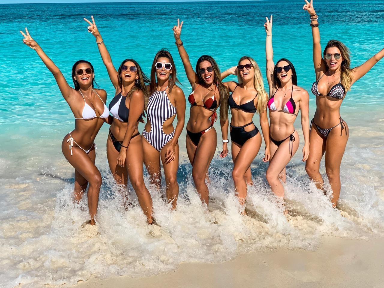 Tainá Grando e bailarinas do Faustão se reúnem em Miami e fazem cruzeiro rumo às Bahamas