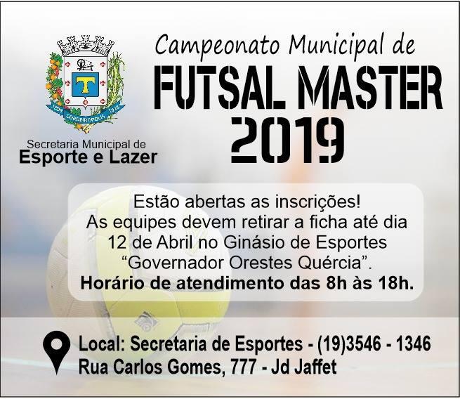 Prefeitura de Cordeirópolis abre inscrições para Campeonato Municipal de Futsal Master 2019