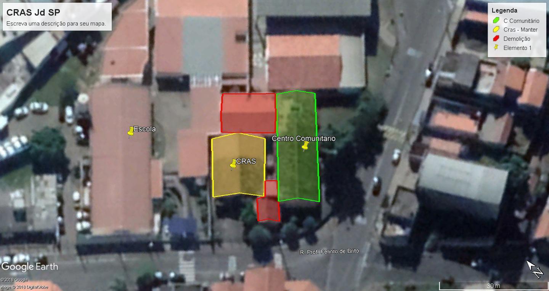 Foto de satélite que mostra a área do Cras atual (amarelo e vermelho) e também do Centro comunitário (verde). Após a reforma o prédio  será composto apenas pela parte amarela