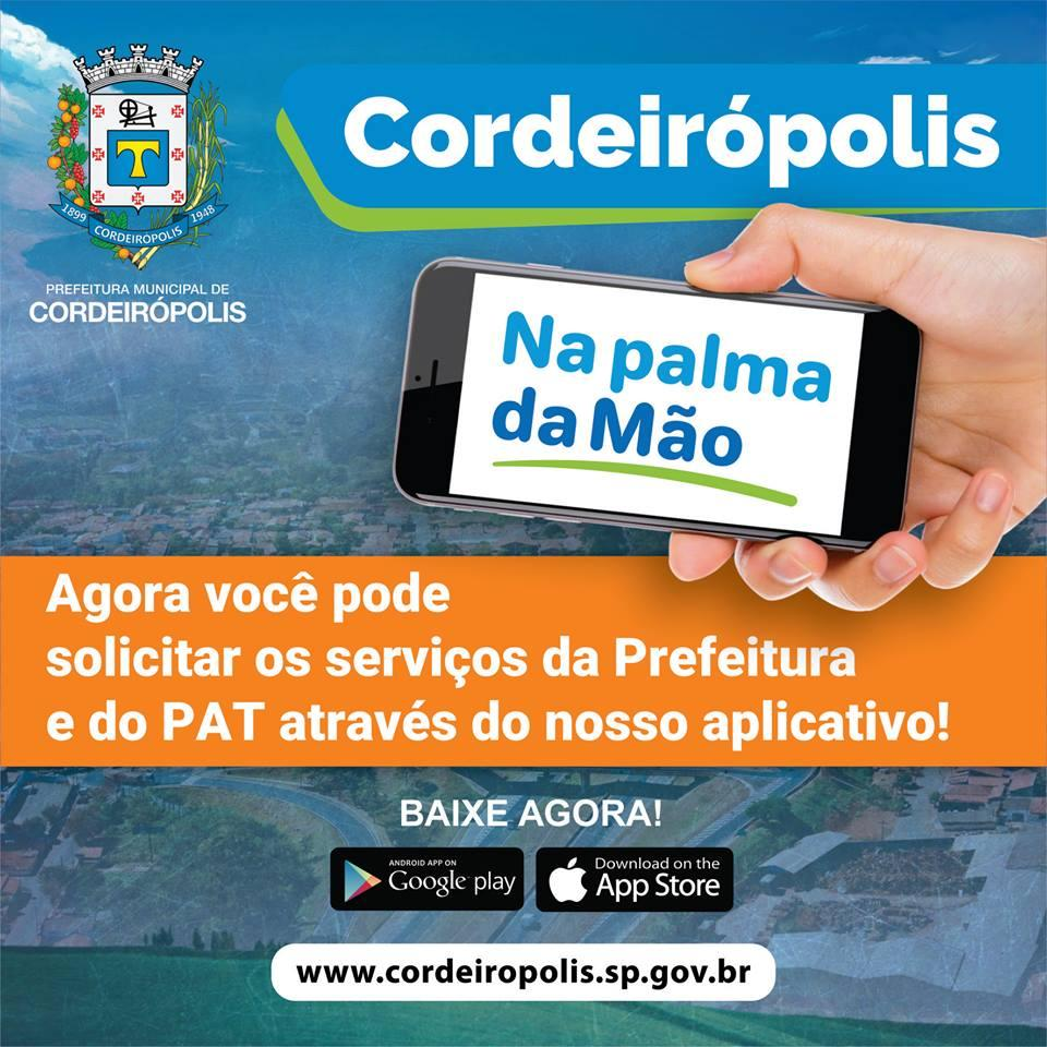 Você sabia que os serviços do PAT de Cordeirópolis agora podem ser solicitados pelo aplicativo?