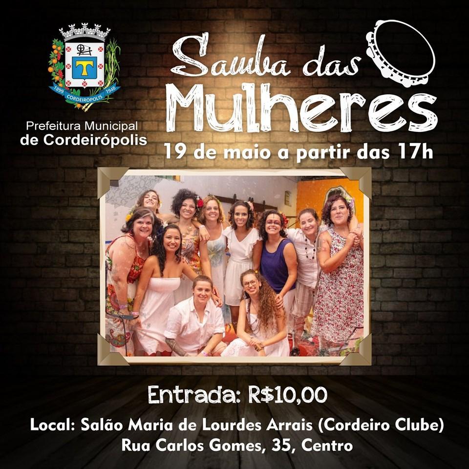 """Amanhã tem """"Samba das Mulheres"""" em Cordeirópolis"""