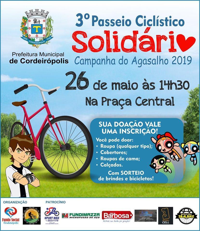 Prefeitura de Cordeirópolis promoverá 3º Passeio Ciclístico Solidário