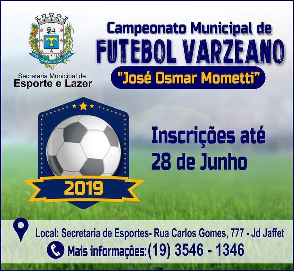 Abertas as inscrições para o Campeonato Municipal de Futebol Varzeano 2019