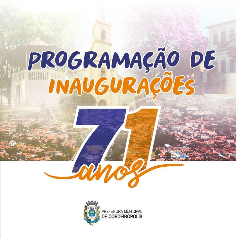 Confira as inaugurações em comemoração aos 71 anos de Cordeirópolis