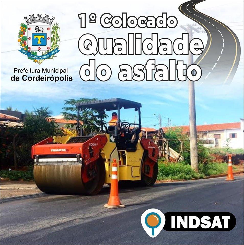 Qualidade do asfalto de Cordeirópolis permanece em 1ª lugar na pesquisa INDSAT