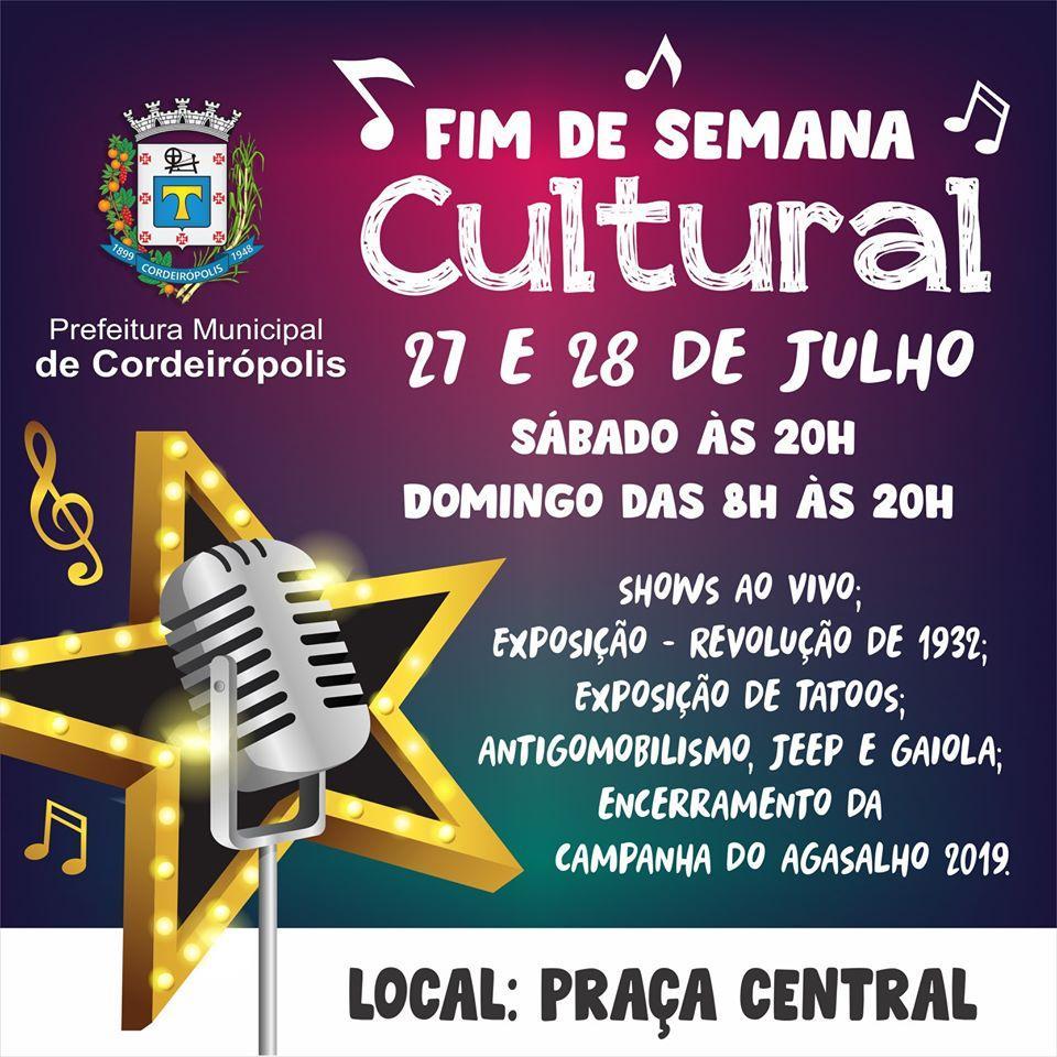 Praça Central de Cordeirópolis receberá música e exposição cultural