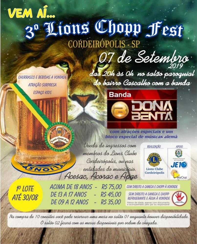 3º Lions Chopp Fest em Cordeirópolis