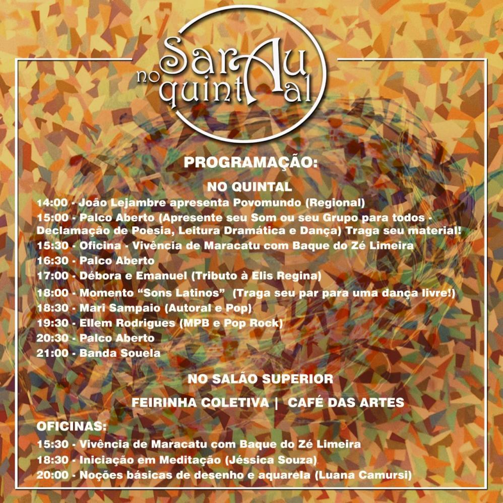 Sarau no Quintal reúne atividades culturais no Palacete Levy em Limeira