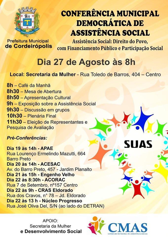 Prefeitura de Cordeirópolis realizará neste mês a Conferência Municipal de Assistência Social