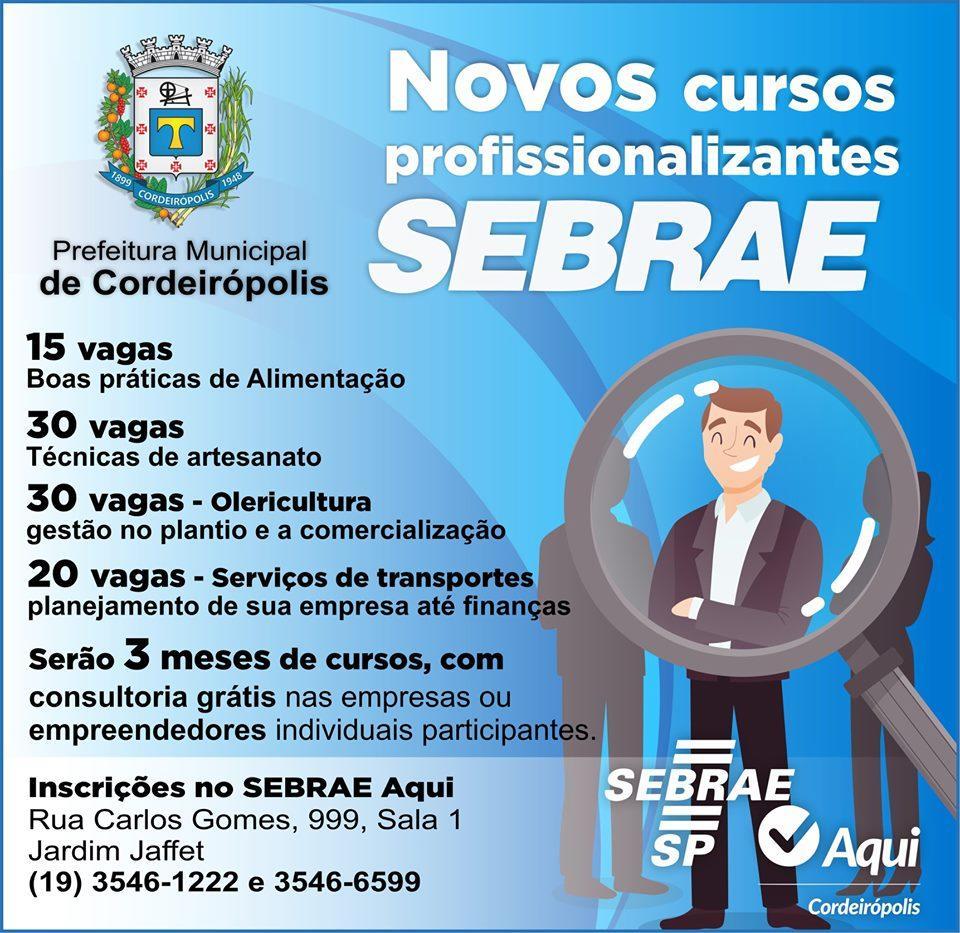 Prefeitura de Cordeirópolis e SEBRAE oferecem mais de 90 vagas para cursos profissionalizantes