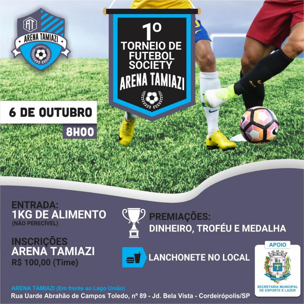 1° Torneio Futebol Society será no dia 06 de outubro em Cordeirópolis