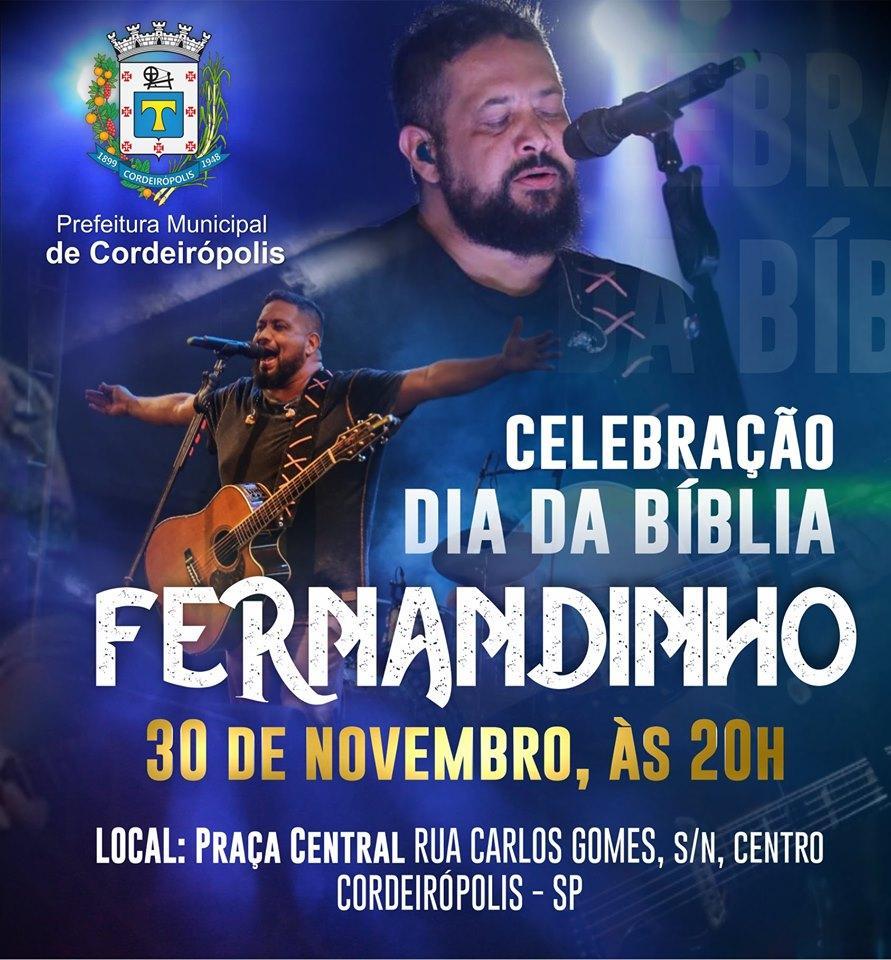 Fernandinho fará show no dia 30 de novembro em Cordeirópolis