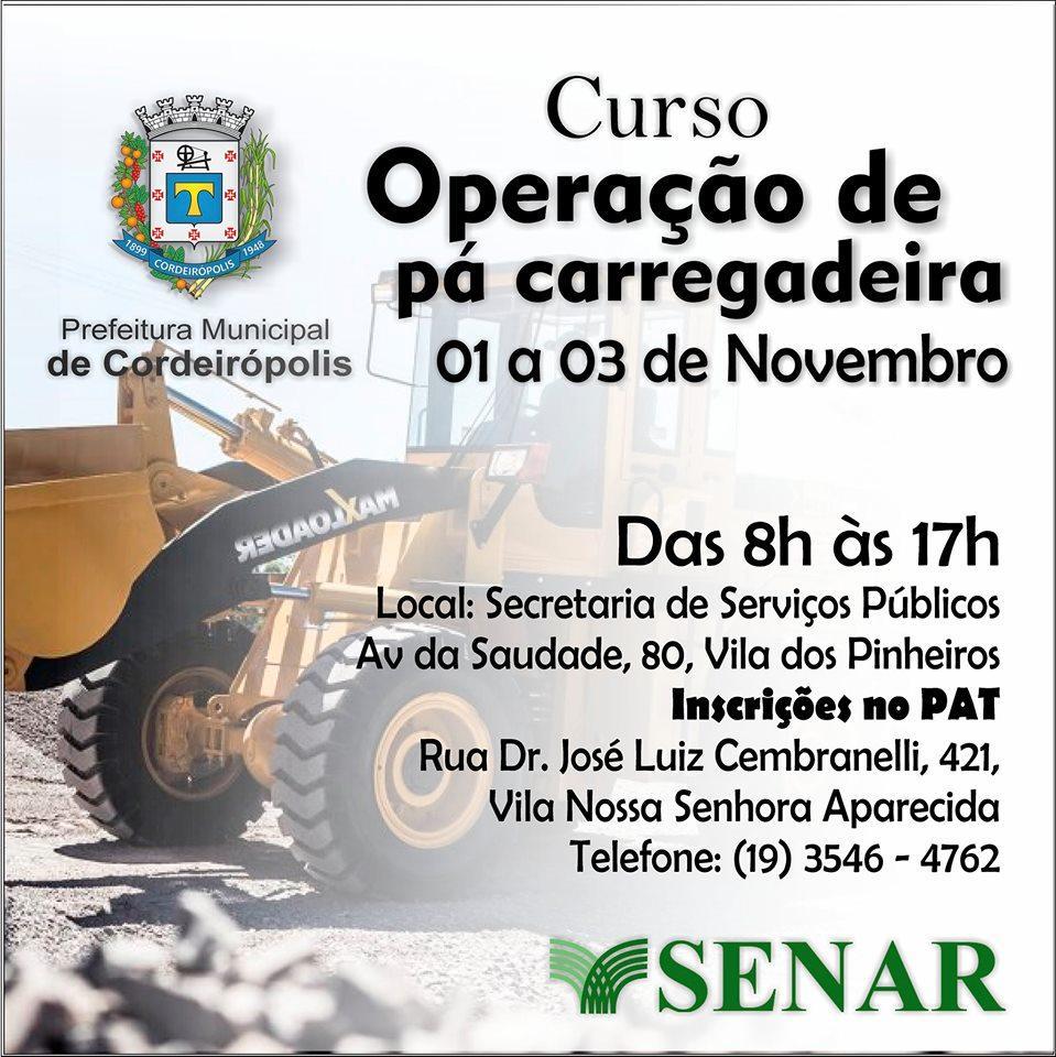 Prefeitura de Cordeirópolis abre inscrições para curso de Operação de pá carregadeira