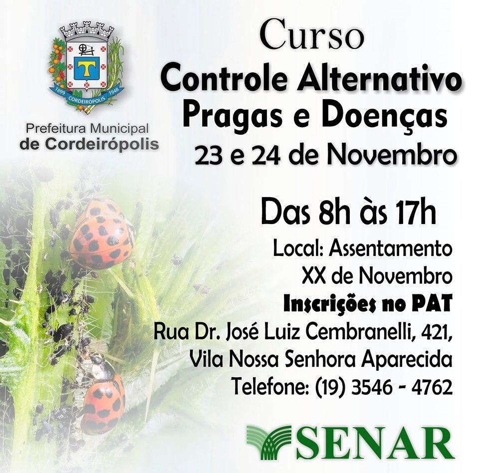 Curso gratuito de controle de pragas e doenças abre 16 vagas em Cordeirópolis